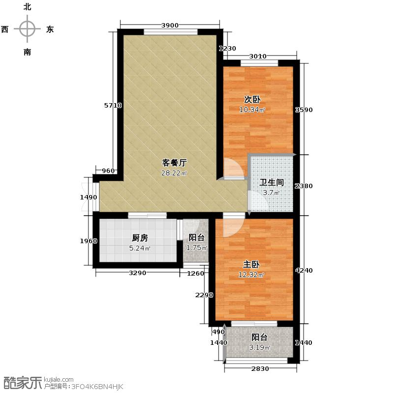 众美城廊桥四季88.04㎡11-12号楼2d户型2室1厅1卫1厨