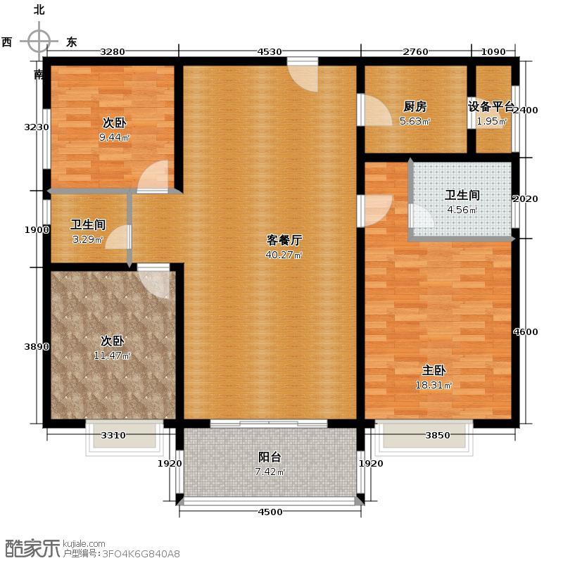 汇通太古城134.16㎡6号地G户型3室1厅2卫1厨