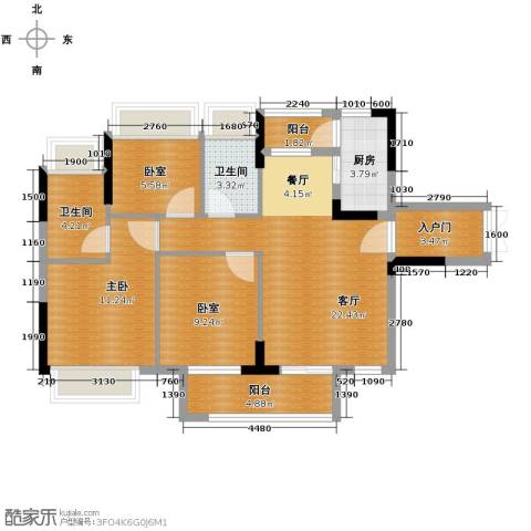 丰泰旗山绿洲3室2厅2卫0厨95.00㎡户型图