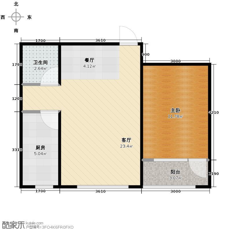 证大光明城58.00㎡三期22、25#楼1A2户型1室2厅1卫