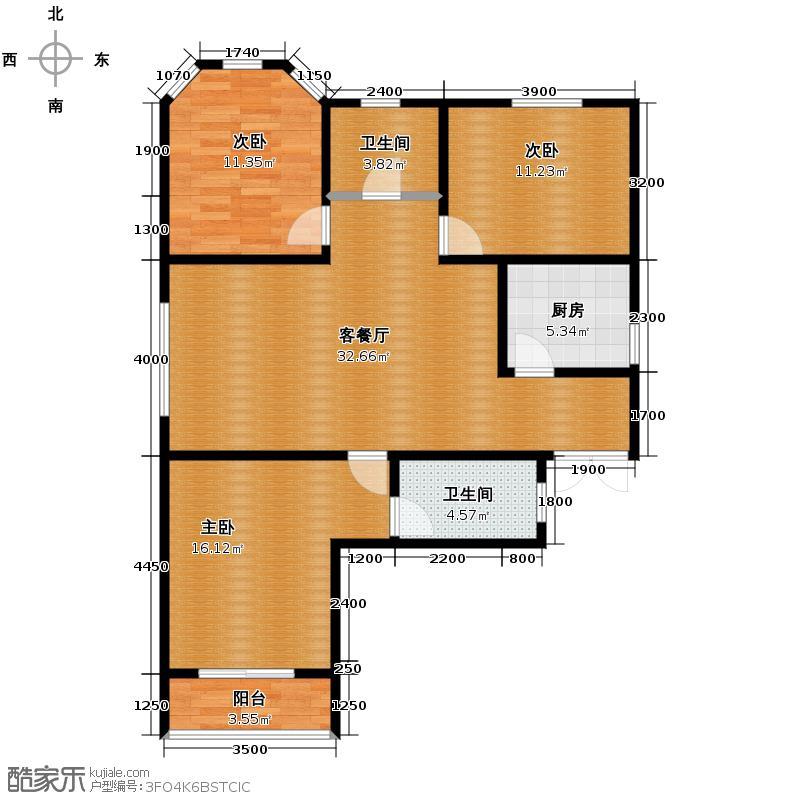 紫晶悦城126.44㎡D2户型3室2厅2卫