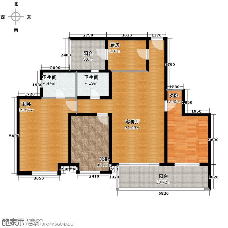 汇通太古城137.59㎡6号地P户型3室1厅2卫1厨
