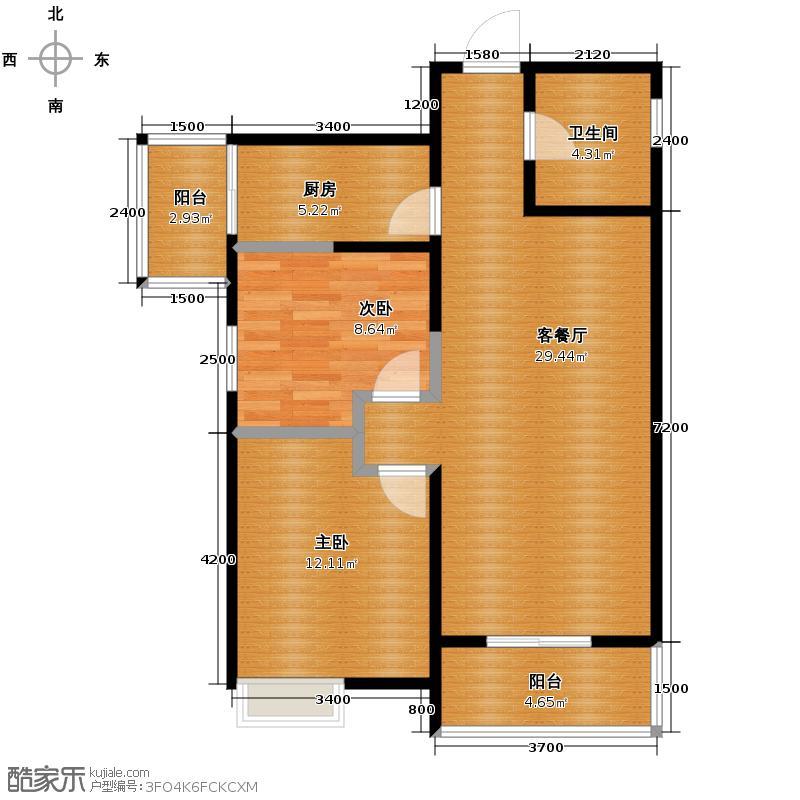 中兴和园89.00㎡4#6#1单元-02-B9二室户型2室1厅1卫1厨