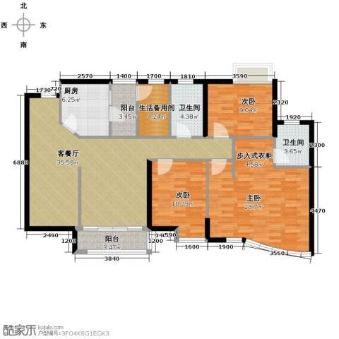 豪景苑3室1厅2卫1厨146.00㎡户型图