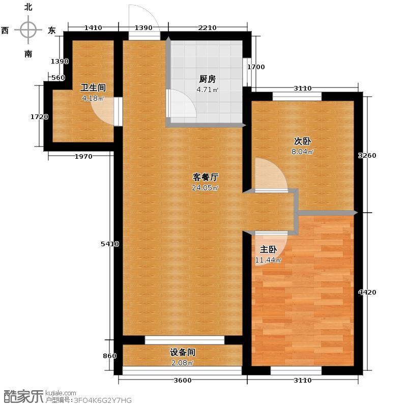 瑞家景峰80.89㎡A3户型2室2厅1卫
