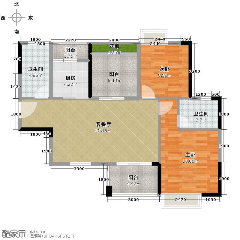 名汇嘉园92.00㎡7座04单位户型2室1厅2卫1厨