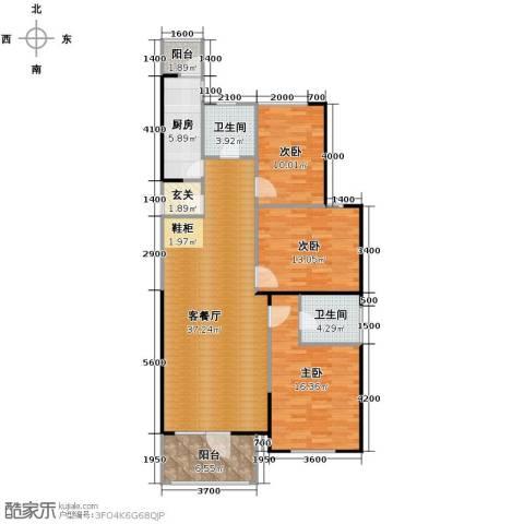 同方广场3室2厅1卫0厨132.00㎡户型图