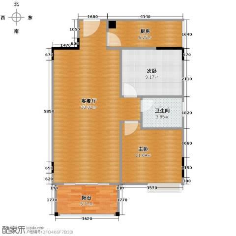 雍景香江2室1厅1卫1厨93.00㎡户型图