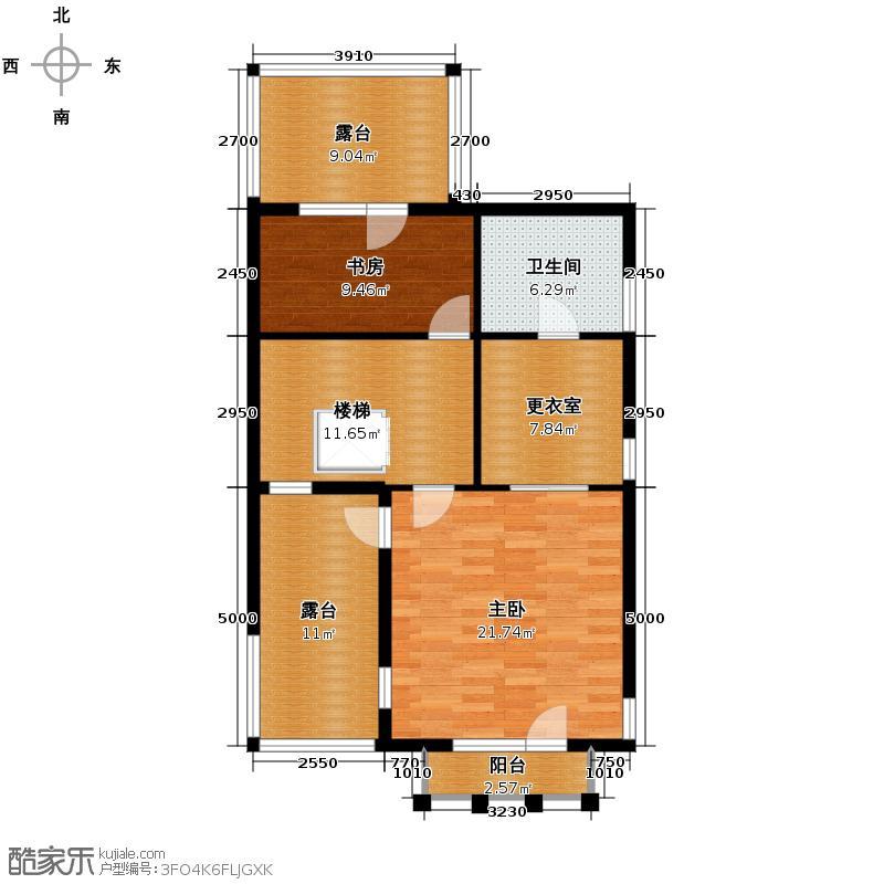 大运河孔雀城89.74㎡联排带车库4三层平面图户型10室