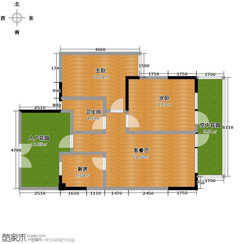 麓山国际社区别墅90.00㎡F户型2室2厅1卫