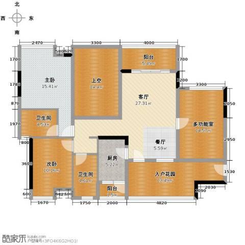 万科金域蓝湾2室1厅2卫1厨133.78㎡户型图