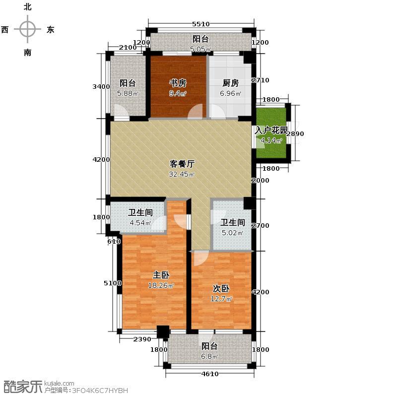 千岛湖柏润国际花园125.36㎡B1偶数层位于4号楼户型3室2厅2卫