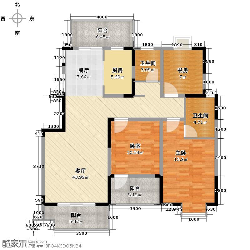 王子公馆114.43㎡F户型2室1厅2卫