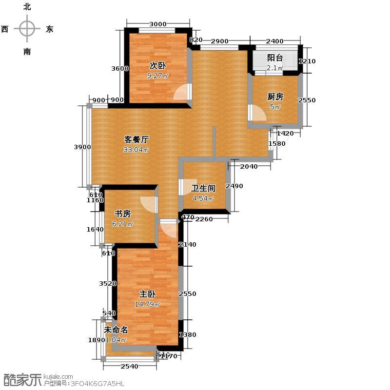 新加坡城108.00㎡户型3室2厅1卫