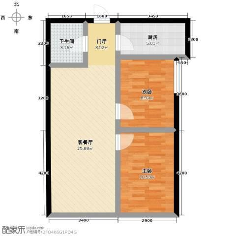 天润广场2室2厅1卫0厨77.00㎡户型图