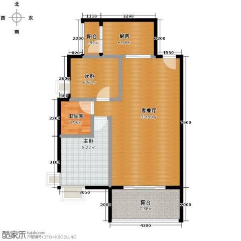 万科金域蓝湾2室1厅1卫1厨74.85㎡户型图