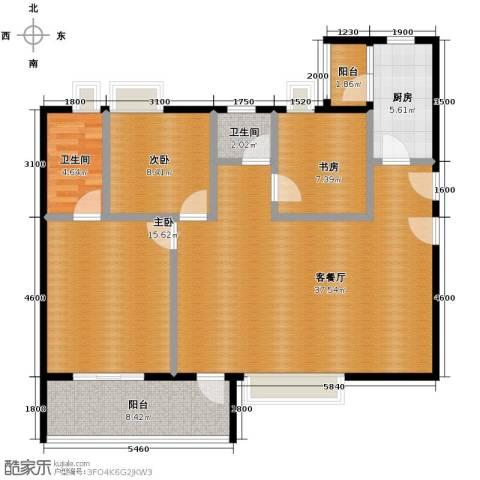 万科金域蓝湾3室1厅2卫1厨103.10㎡户型图