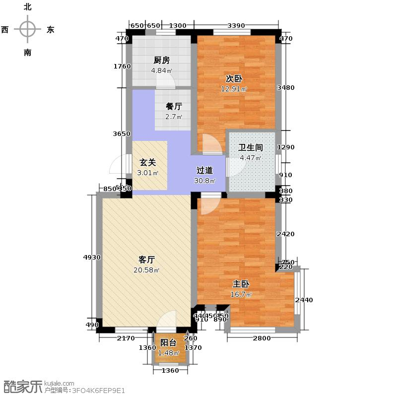 绿地新里中央公馆87.00㎡10栋01户型2室1卫1厨