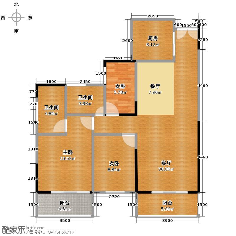 天御尚城111.28㎡二座2幢05户型3室2厅1卫