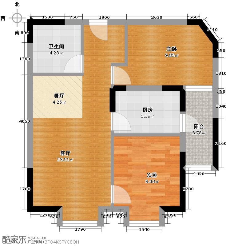 天朗御湖76.81㎡H7户型2室2厅1卫
