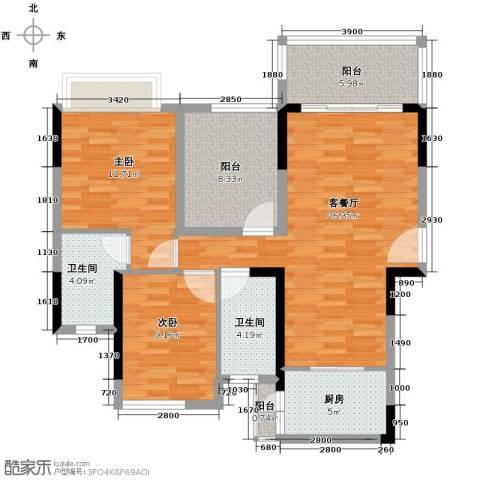 名汇嘉园2室1厅2卫1厨93.00㎡户型图