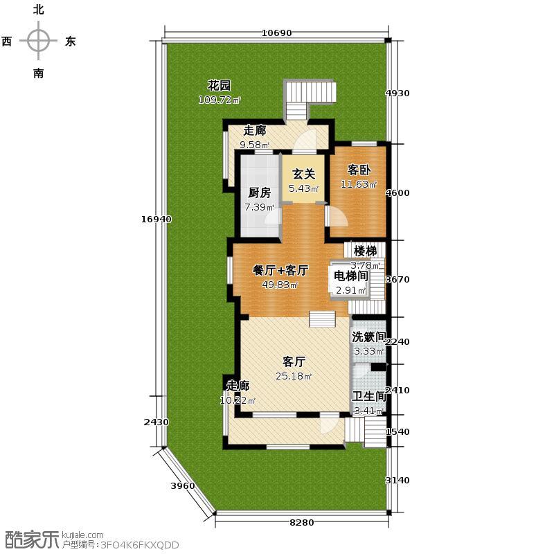 大运河孔雀城236.89㎡联排B1首层平面图户型10室