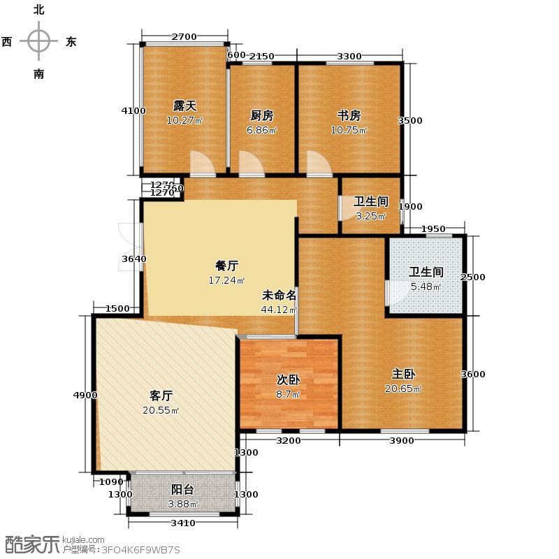 远洋戛纳小镇137.00㎡洋房Y4六层空间户型3室2厅2卫