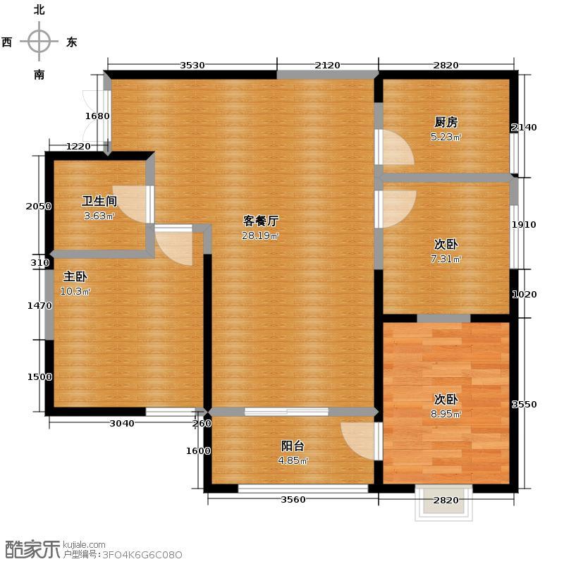 海�国际94.85㎡10-B户型3室1厅1卫1厨