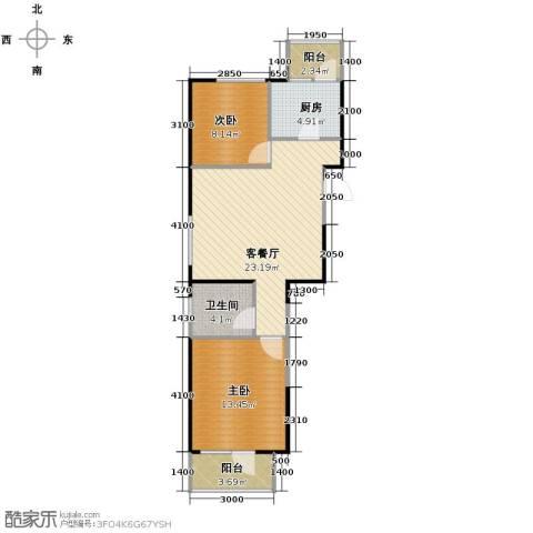 同方广场2室2厅1卫0厨83.00㎡户型图