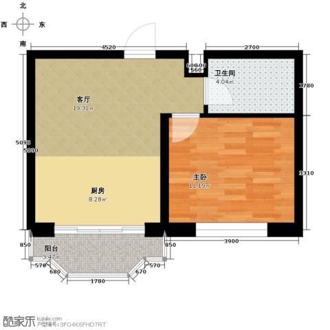 台北华郡1室1厅1卫0厨51.00㎡户型图
