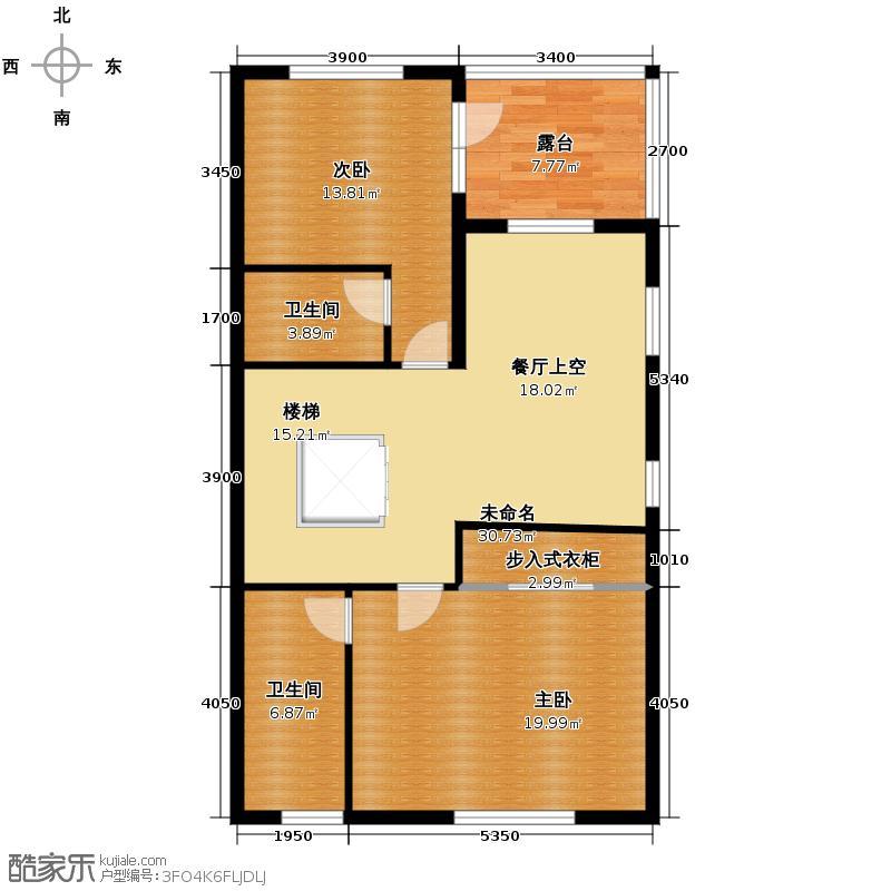 大运河孔雀城95.63㎡联排带车库4二层平面图户型10室