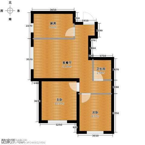 瑞家景峰2室2厅1卫0厨77.00㎡户型图