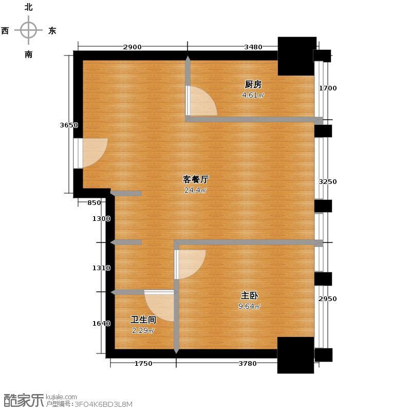 中基国际公馆46.75㎡F户型1室2厅1卫