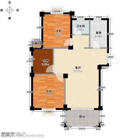 小骆花园3室1厅1卫1厨94.00㎡户型图