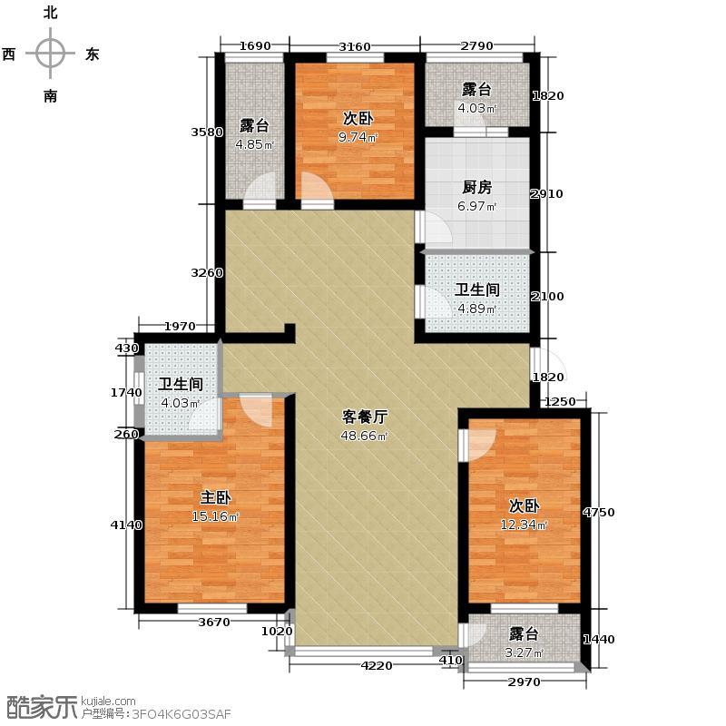 城建逸品假日137.88㎡户型3室2厅2卫