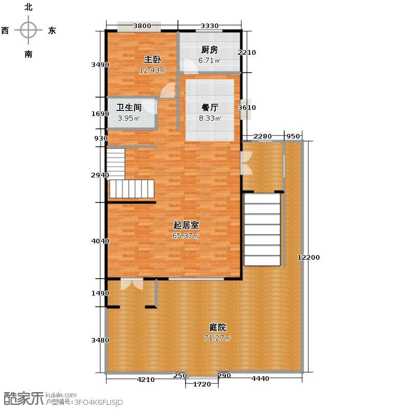 大运河孔雀城168.68㎡联排带车库2一层平面图户型10室