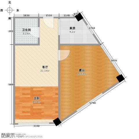 金坐标1厅1卫1厨61.00㎡户型图
