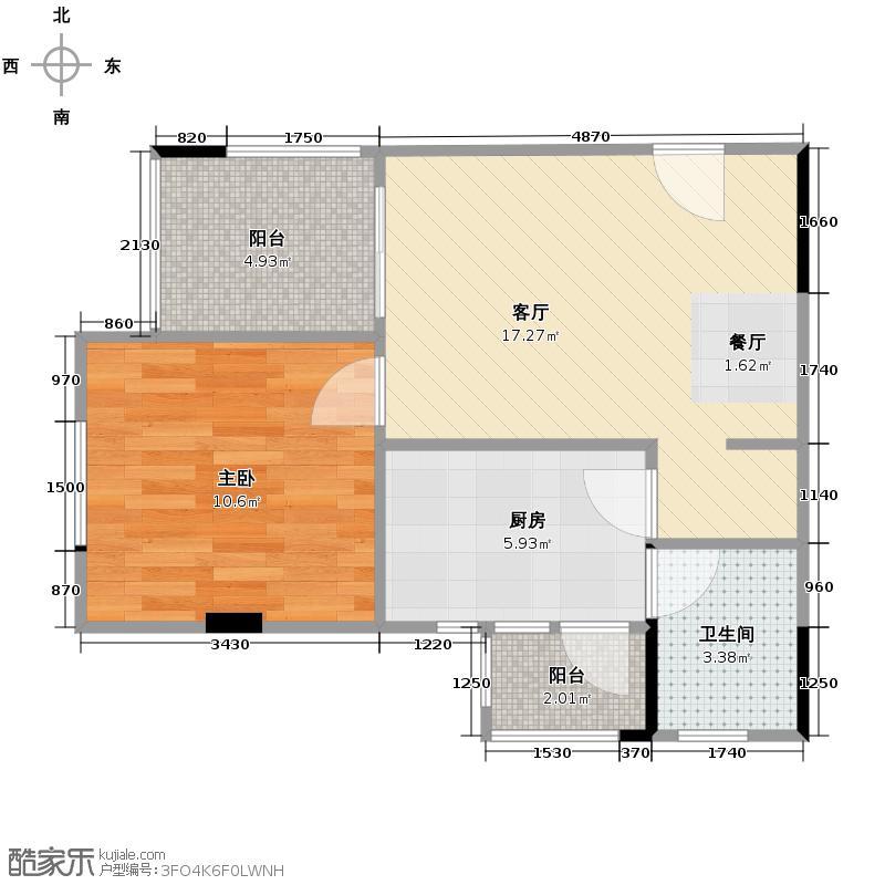 渝开发上城时代42.00㎡B3户型1室1厅1卫