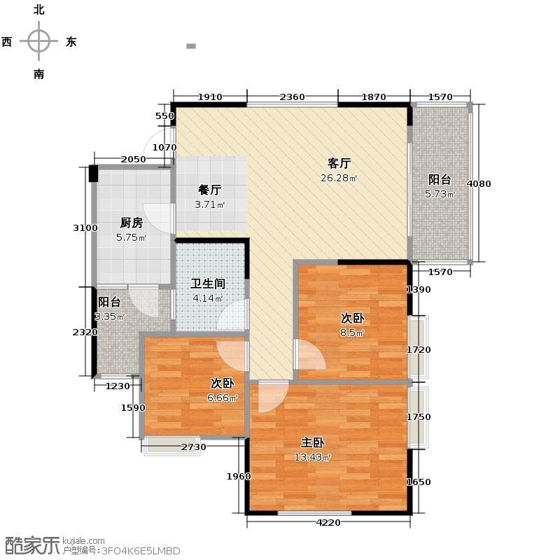 渝开发上城时代74.00㎡A5户型3室1厅1卫