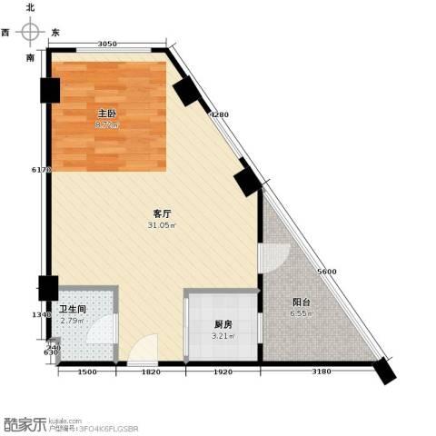 金坐标1厅1卫1厨59.00㎡户型图