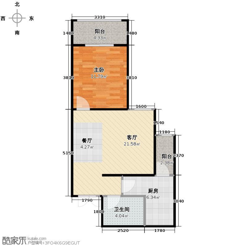 航天常青苑68.00㎡2-24&nbsp&nbsp高层B户型1室1厅1卫1厨