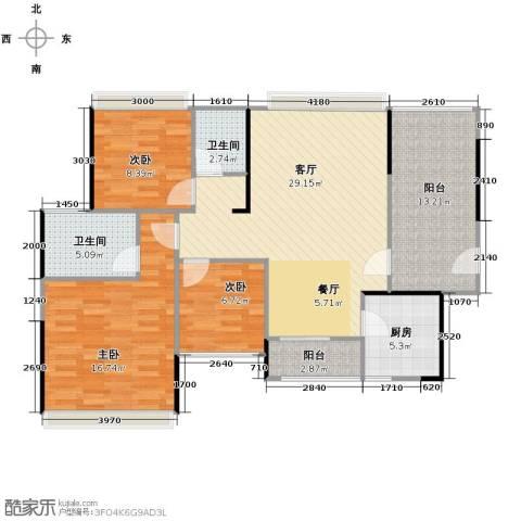 金地格林3室1厅2卫1厨122.00㎡户型图