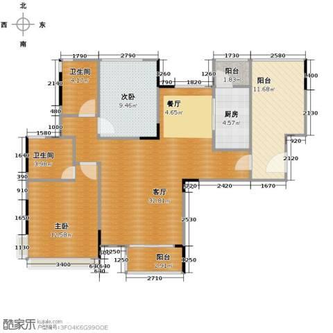 金地格林2室1厅2卫1厨114.00㎡户型图
