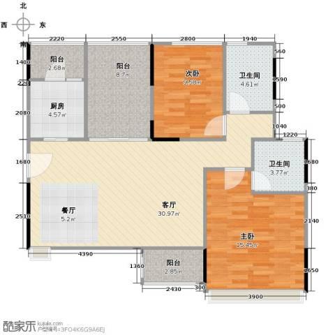 金地格林2室1厅2卫1厨112.00㎡户型图