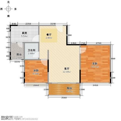 金地格林2室1厅1卫1厨78.00㎡户型图