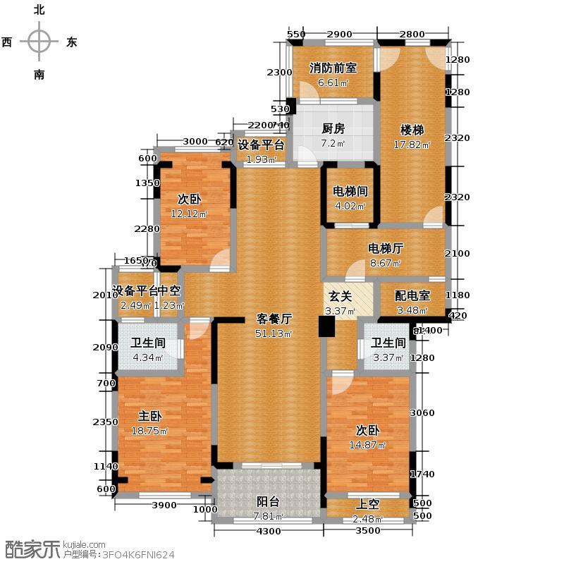 莱德绅华府154.91㎡7号楼偶数层7D户型3室2厅2卫