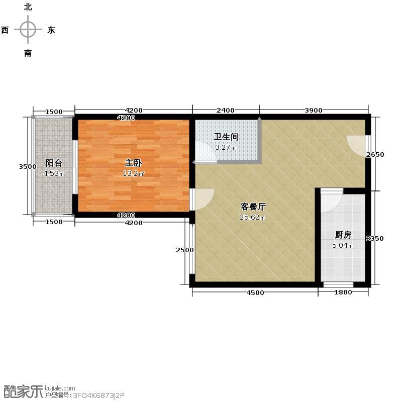 长风万景57.75㎡8号楼B14户型1室1厅1卫1厨