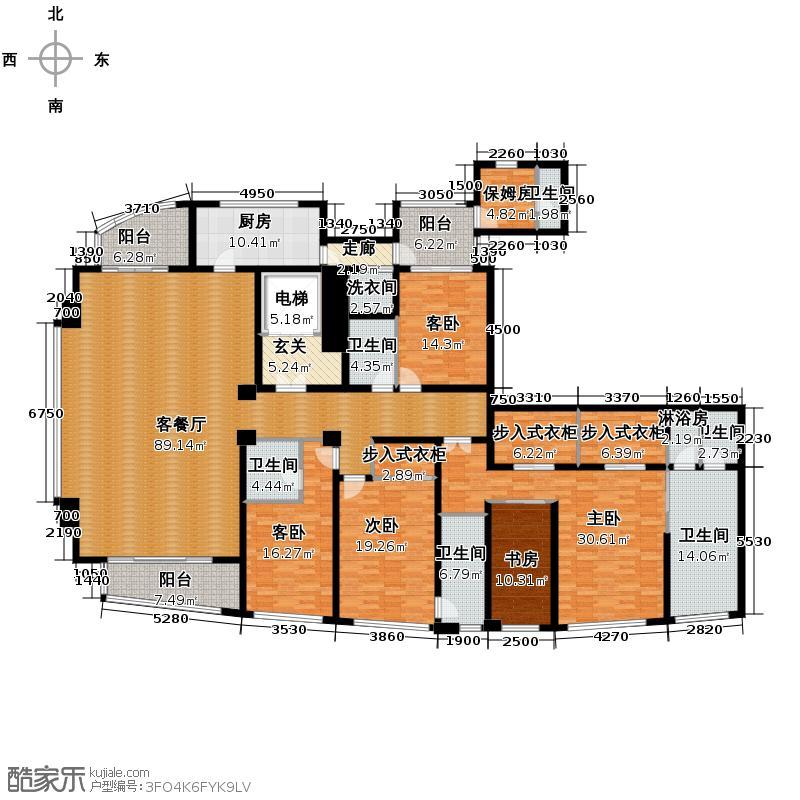远洋杭州大运河商务区353.00㎡远洋公馆绿园户型5室5厅2卫