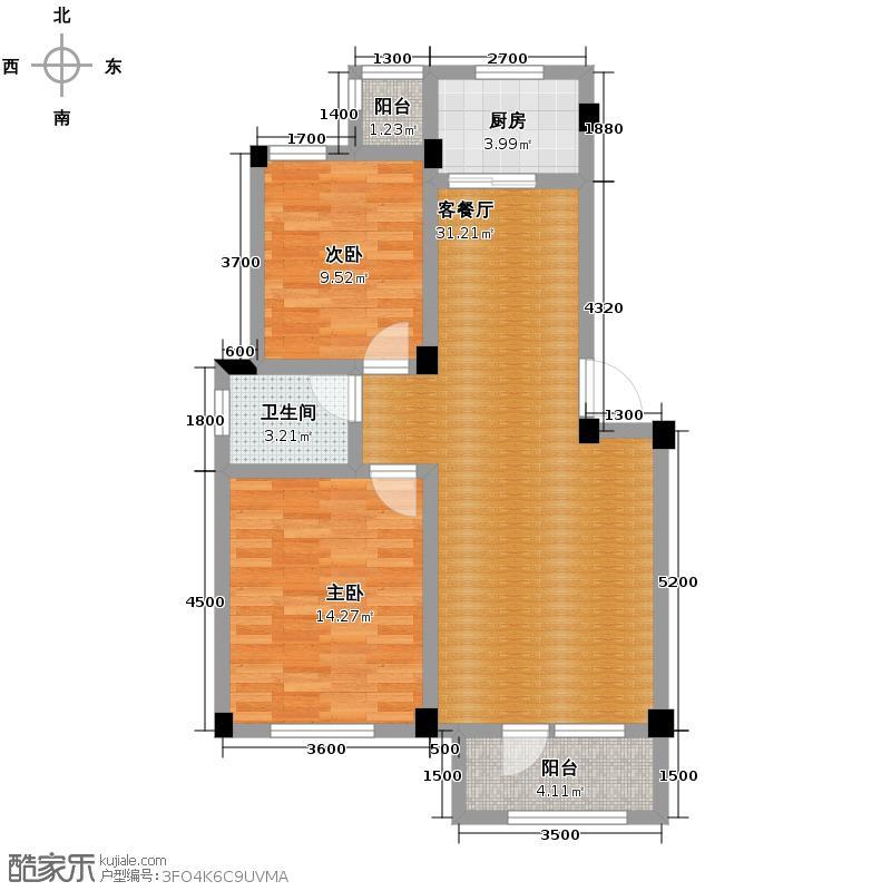 碧桂园凤凰城87.26㎡多层户型2室2厅1卫