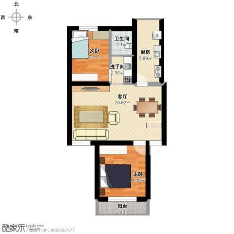 三塘桃园2室1厅1卫1厨77.00㎡户型图